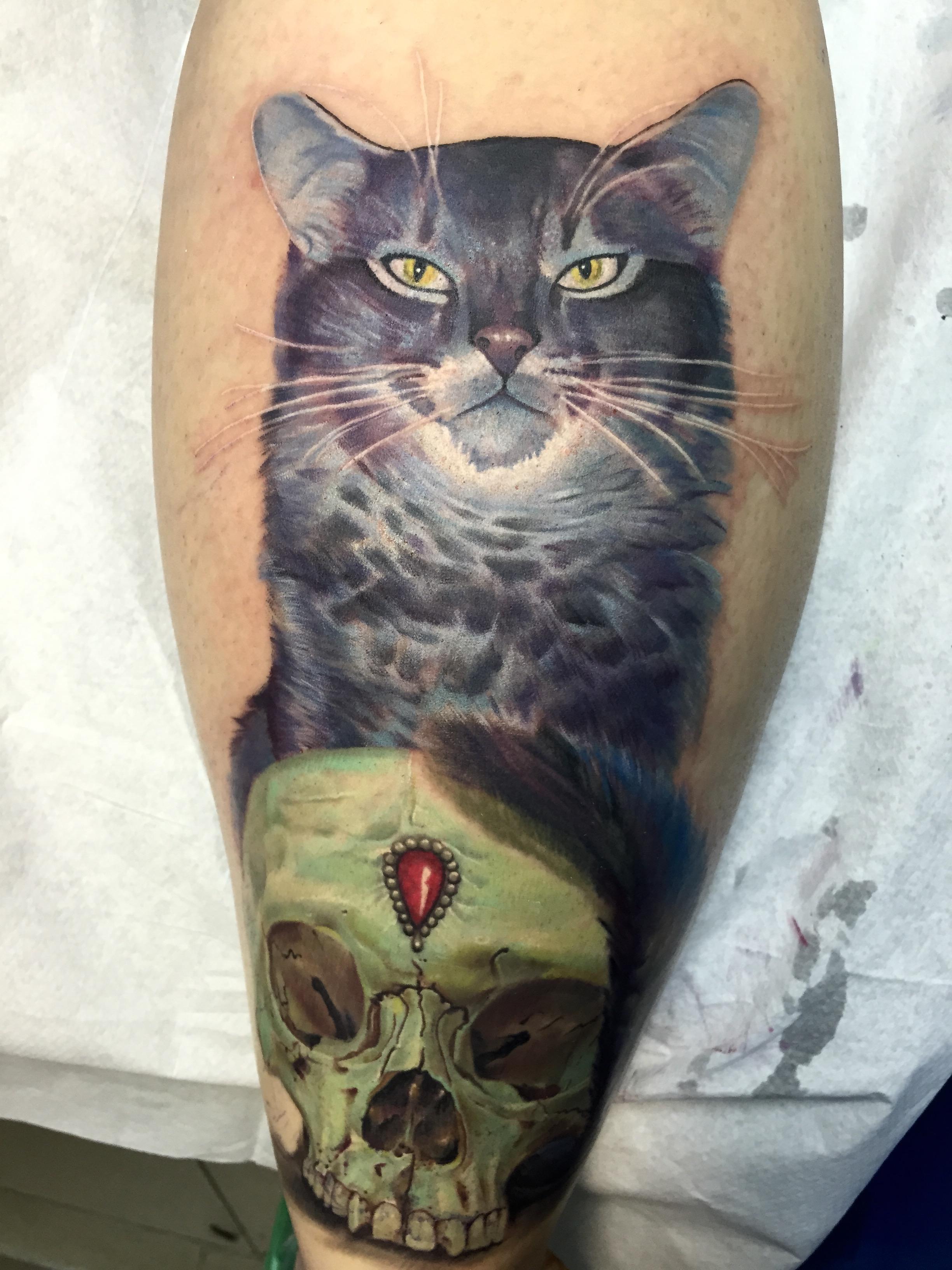 cat, electrographic tattoo,germany, bayern, rosenheim, münchen , salzburg , innsbruck, vogel, rose, tattoo, tattoo art, color, realistic